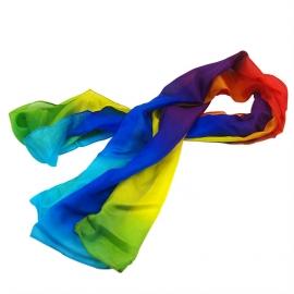 Радужный шелковый шарф 6,5*500 см